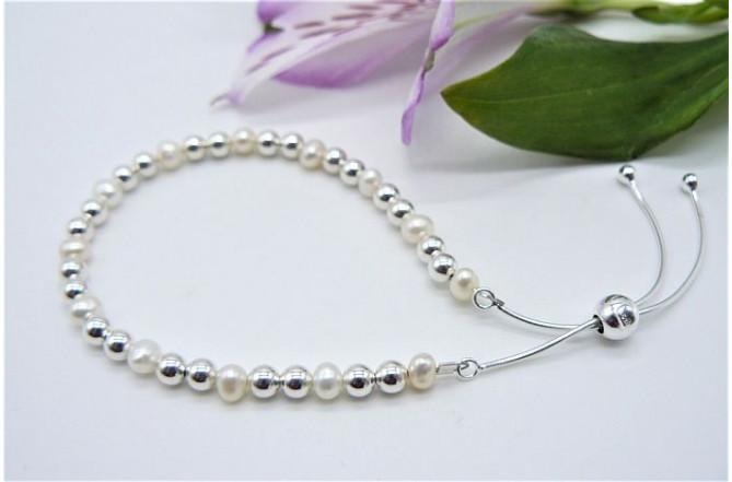 Sterling Silver & Pearl Slider Adjustable Clasp Bracelet
