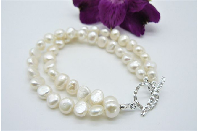 White Small Baroque Pearl & Hammered Toggle Clasp Two Strand Bracelet