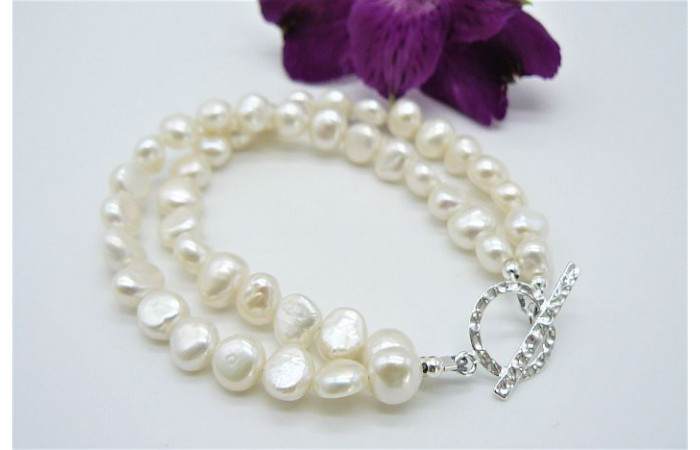 White Baroque Pearl & Hammered Toggle Clasp Two Strand Bracelet