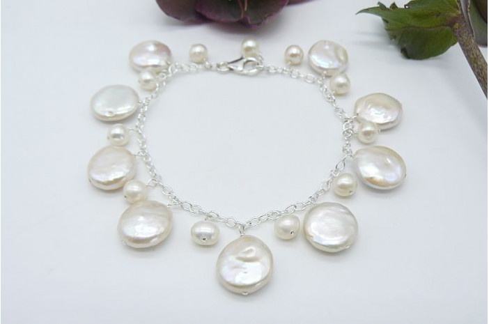 White Coin Pearl Charm Bracelet on Silver Chain