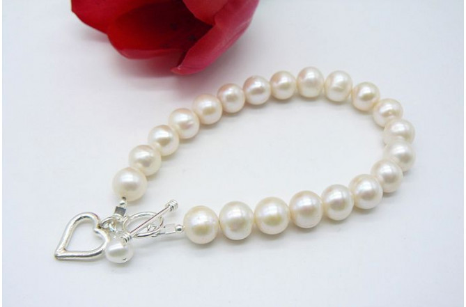 White Medium Round Pearl with Silver Open Heart Drop