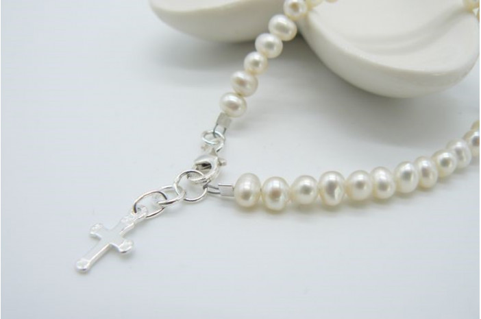 White Smallest Round Pearl & Silver Cross Bracelet