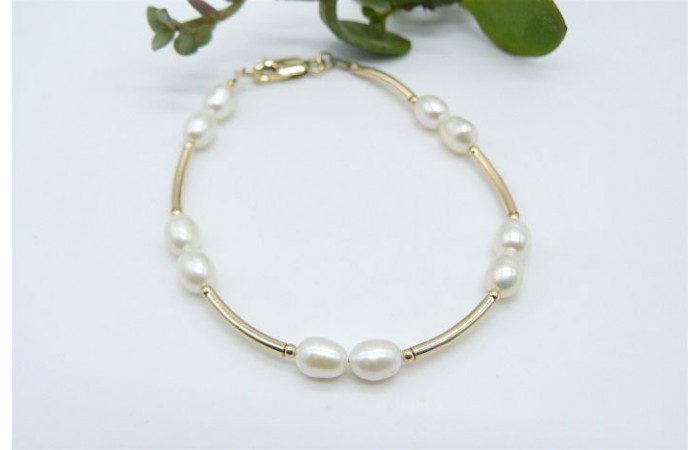 White Small Oval Pearl & Gold Curved Tube Bracelet