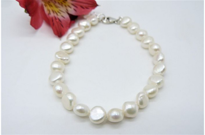 White Baroque Nugget Pearl Bracelet