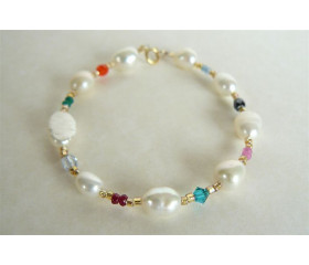 White Pearl & Mixed Bead Bracelet