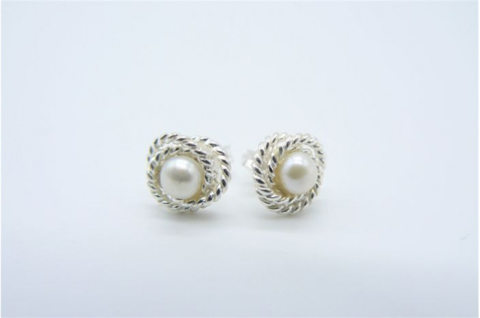 Sterling Silver Knotted Rope Pearl Stud Earring