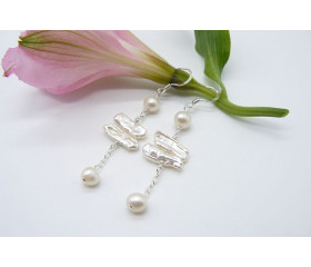 White Biwa Pearl Long Drop Earrings