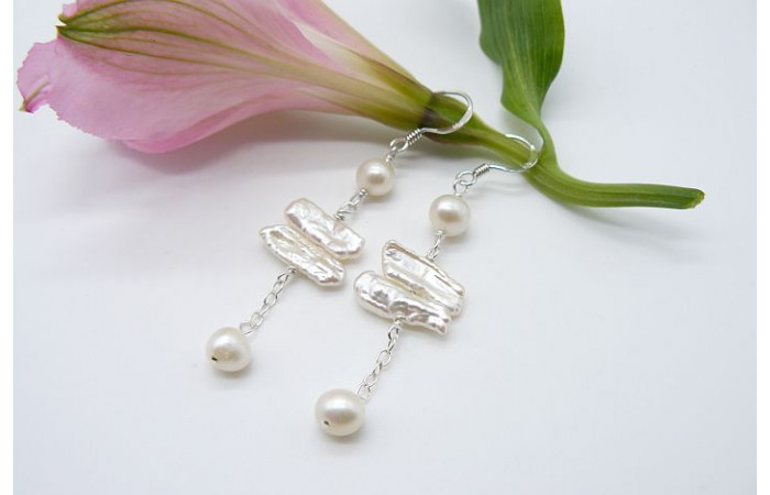 White Biwa Pearl Long Drop Earrings