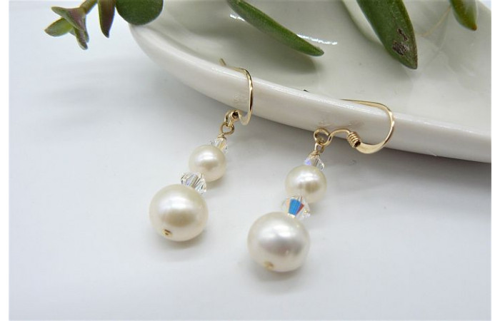 White Round Pearl & Crystal Drop Earrings