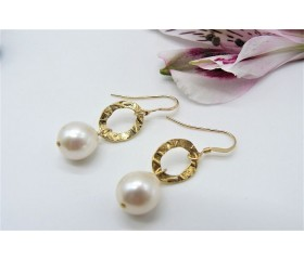 White Pearl & Gold Oval Ring Drop Earrings