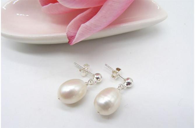 White Large Oval Pearl Stud Drop Earrings