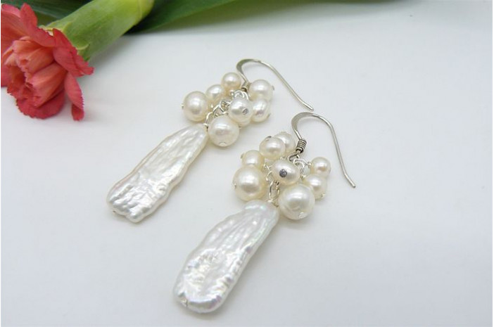 White Long Biwa Pearl & Cluster Top Earrings