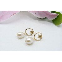 White Pearl & Gold Circle Stud Drop Earrings
