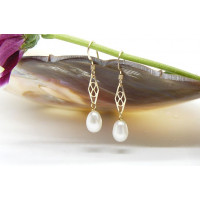 White Oval Pearl & Gold Filigree Drop Earrings