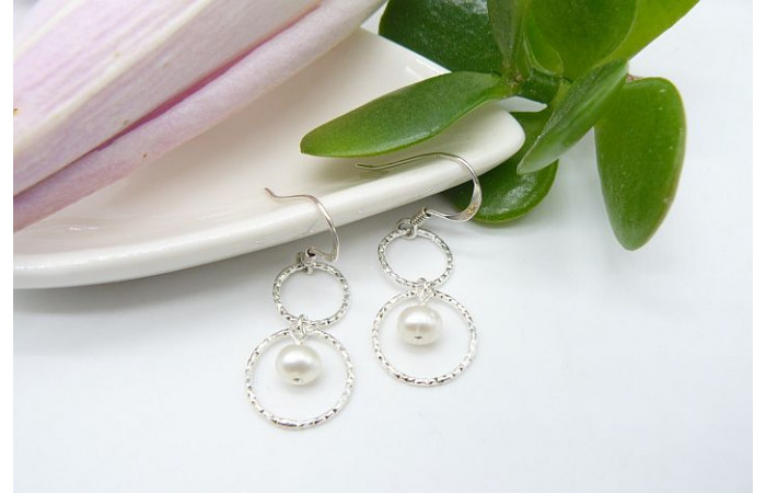 White Pearl Double Facetted Ring Drop Earrings