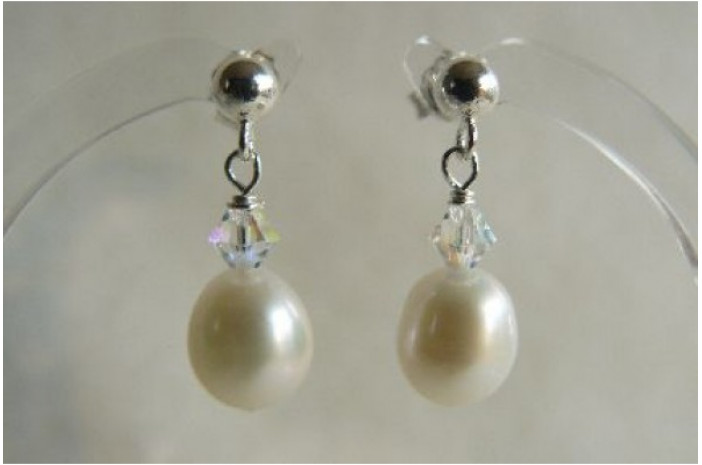 White Oval Pearl & Crystal Stud Drop Earrings