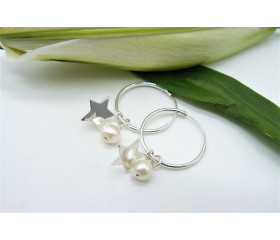 Sterling Silver Hoop Earrings & Removable Pearl & Star Charms