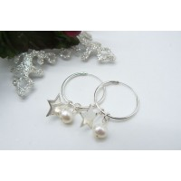 Sterling Silver Hoop Earrings & Removable Pearl & Star Charms
