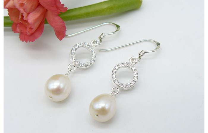 White Pearl & Small Crystal Circles Earrings
