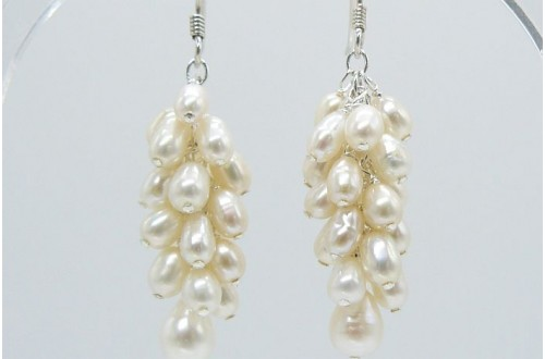 White Smallest Oval Pearl Cluster Drop Earrings