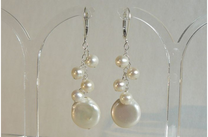 White Coin Pearl & Small Cluster Drop Earrings