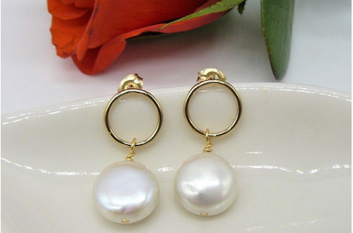 White Coin Pearl & Gold Circle Stud Drop Earrings