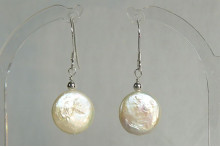 White Coin Pearl & Silver or Gold Bead Drop Earrings