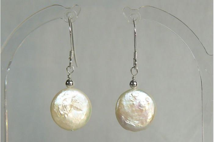 White Coin Pearl & Silver Bead Drop Earrings
