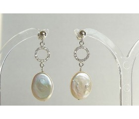 White Flat Oval Pearl & Crystal Circles Stud Drop Earrings