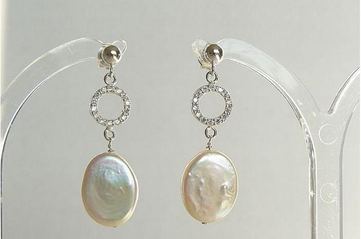 White Flat Oval Pearl & Crystal Circles Stud Drop Earrings