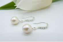 White Oval Pearl & Crystal Hook Drop Earrings