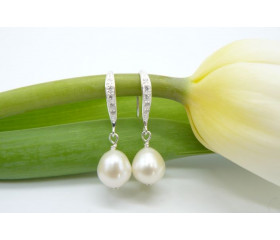 White Oval or Round Pearl & Crystal Hook Drop Earrings