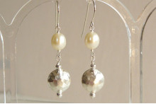 White Pearl & Thai Silver Hammered Disc Drop Earrings