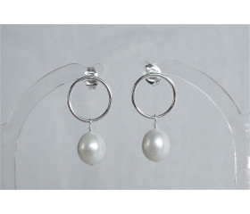 White Pearl & Circle Stud Drop Earrings