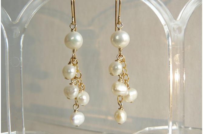 White Pearl & Chain Drop Earrings