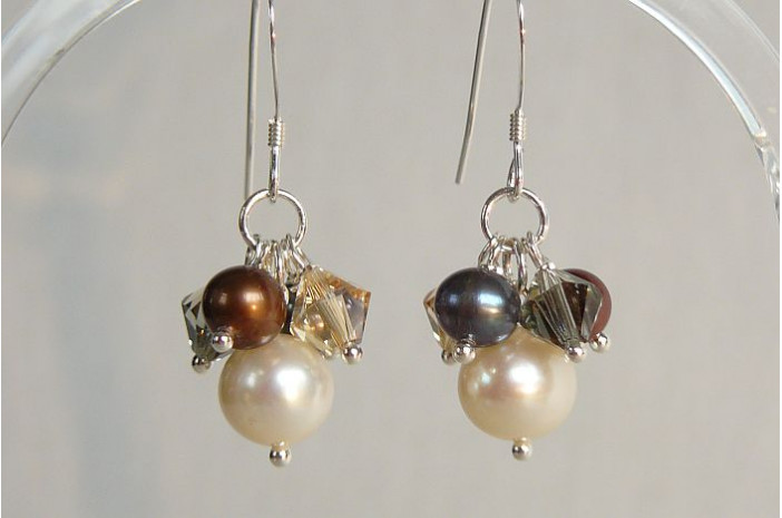 Mixed Colour Pearl & Crystal Drop Earrings