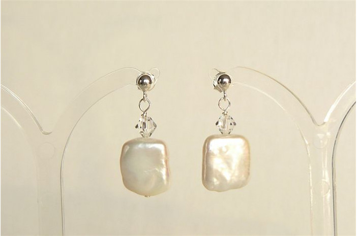 White Square Pearl & Crystal Stud Drop Earrings