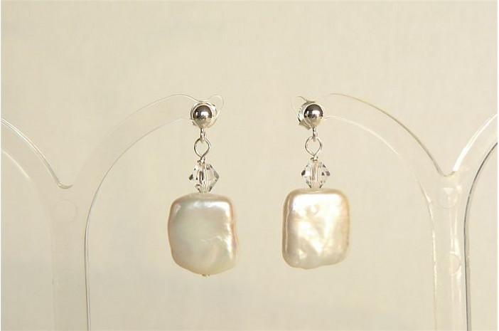 White Square Pearl & Crystal Stud Drop Earrings