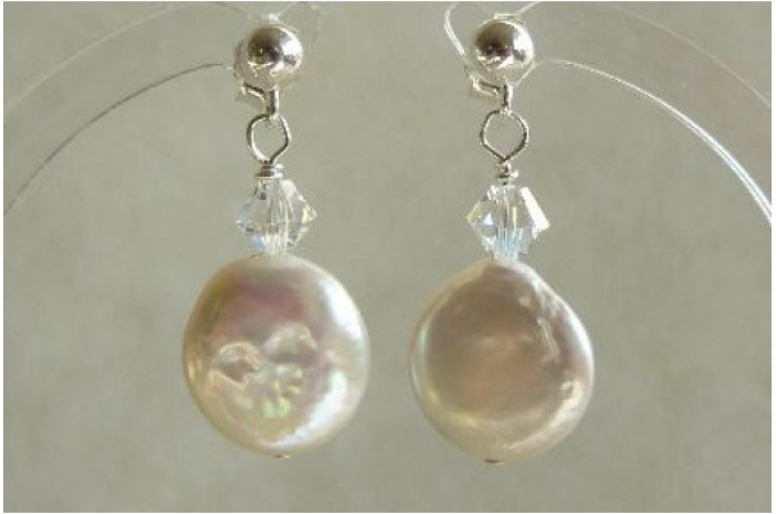 White Coin Pearl & Crystal Earrings