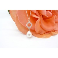 White Pearl & Crystal Circle Pendant Necklace