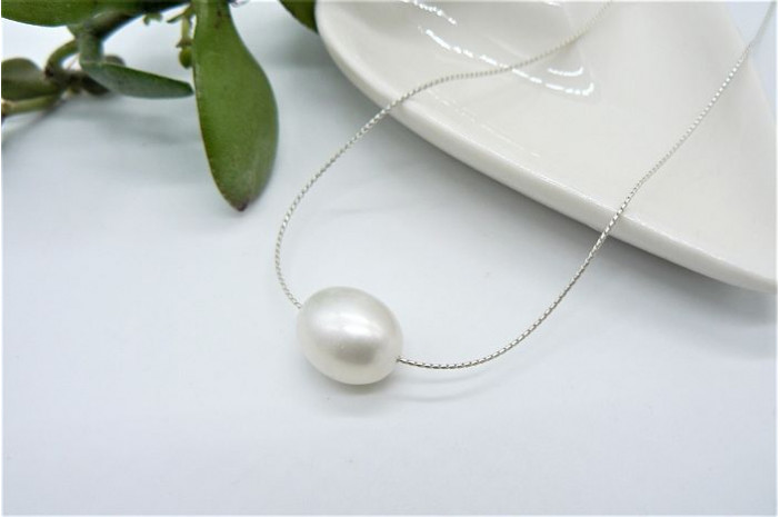Single Large White Pearl on Fine Silver Chain Necklace