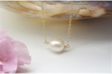 Single Pearl on Gold Chain Necklace