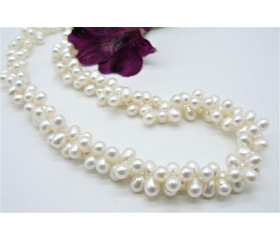 Two Strand White Large Head-Drill Necklace