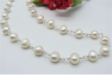 White Baroque Pearl Silver Linked Necklace
