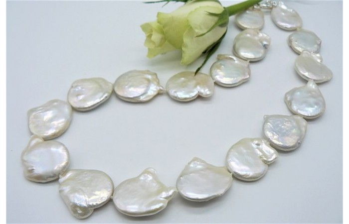 White Large Baroque Coin Pearl Necklace