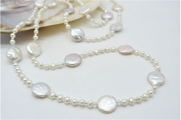 White Coin & Round Pearl Long Necklace