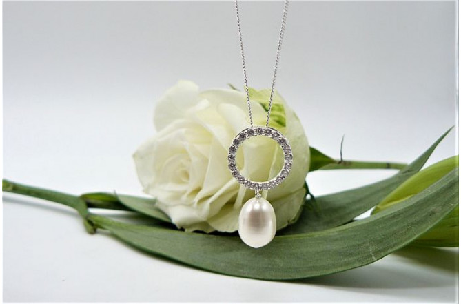 White Pearl & Large Crystal Circle Pendant Necklace