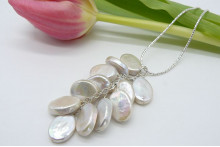 White Flat Oval Pearl Cluster Long Necklace
