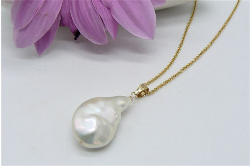 White Baroque Pearl Pendant Necklace On Gold Chain