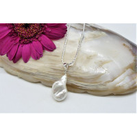 White Baroque Pearl Pendant Necklace On Sterling Silver Chain